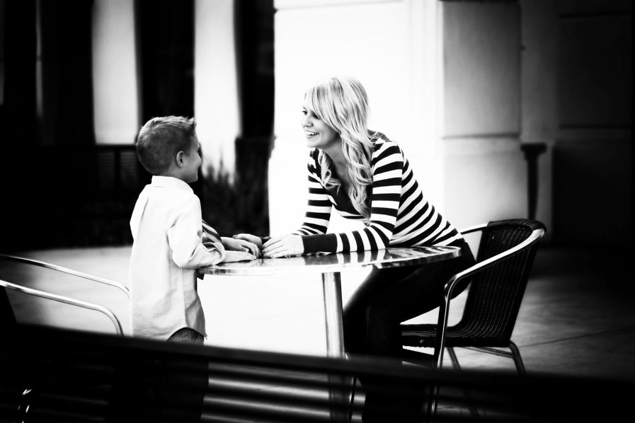 Black and white mother and son
